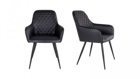 Lot de 2 fauteuil repas en simili cuir noir - Collection Harbo - House Nordic