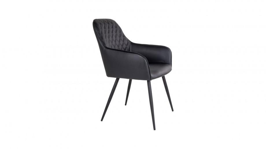 Lot de 2 fauteuil repas en simili cuir noir - Collection Harbo - House Nordic