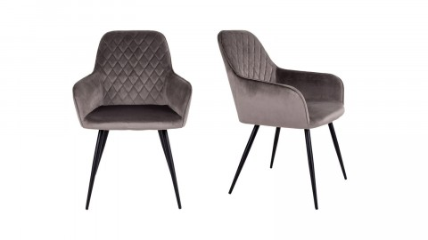 Lot de 2 fauteuils repas en velours taupe piètement noir - Collection Harbo - House Nordic