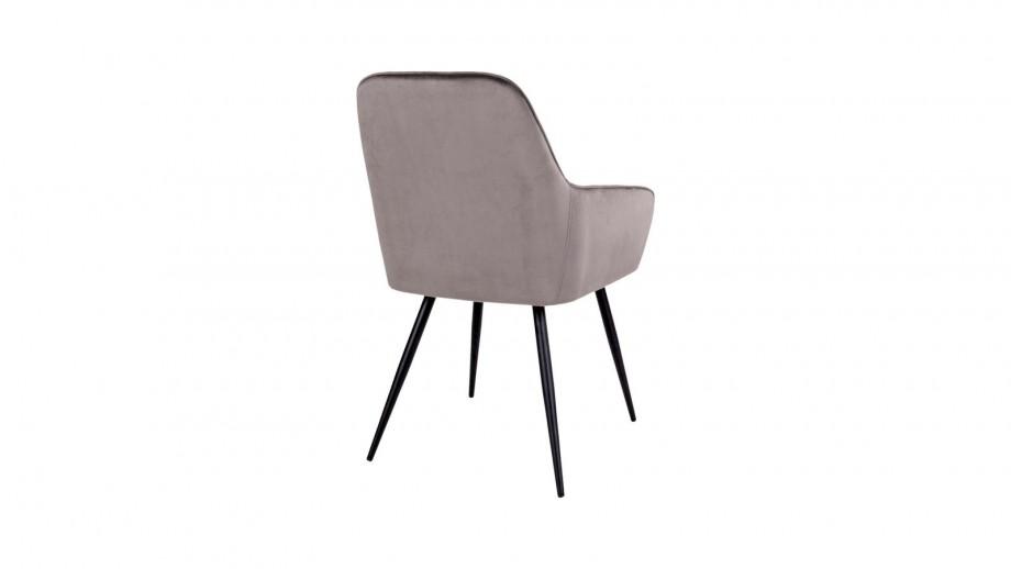 Lot de 2 fauteuils repas en velours taupe piètement noir - Collection Harbo - House Nordic