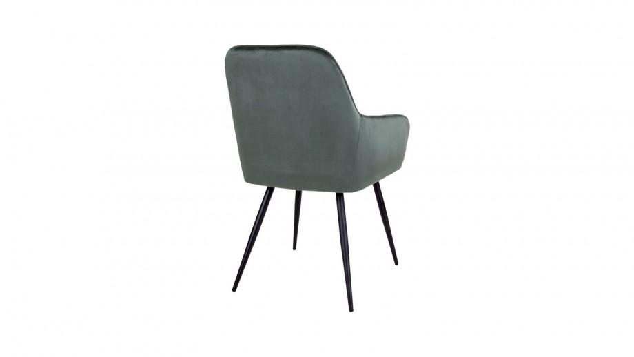 Lot de 2 fauteuils repas en velours vert piètement noir - Collection Harbo - House Nordic