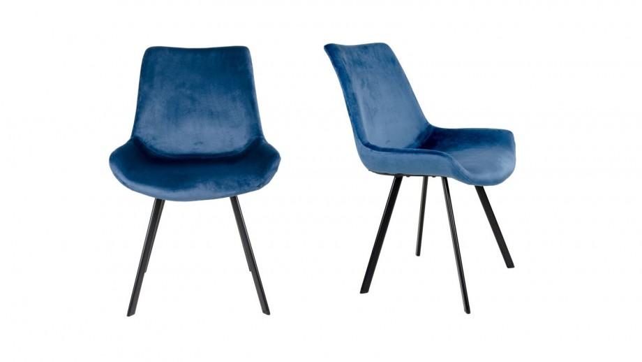 Lot de 2 chaises en velours bleu nuit piètement noir - Collection Drammen - House Nordic