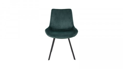Lot de 2 chaises en velours vert piètement noir - Collection Drammen - House Nordic