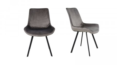 Lot de 2 chaises en velours gris piètement noir - Collection Drammen - House Nordic