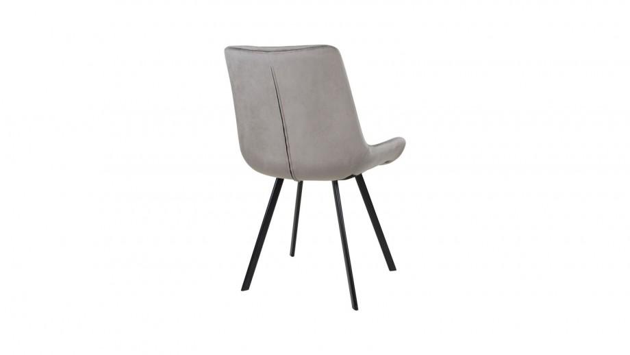 Lot de 2 chaises en velours gris piètement noir - Collection Drammen - House Nordic
