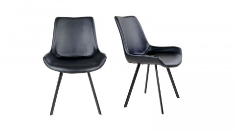 Lot de 2 chaises en simili cuir noir piètement noir - Collection Drammen - House Nordic