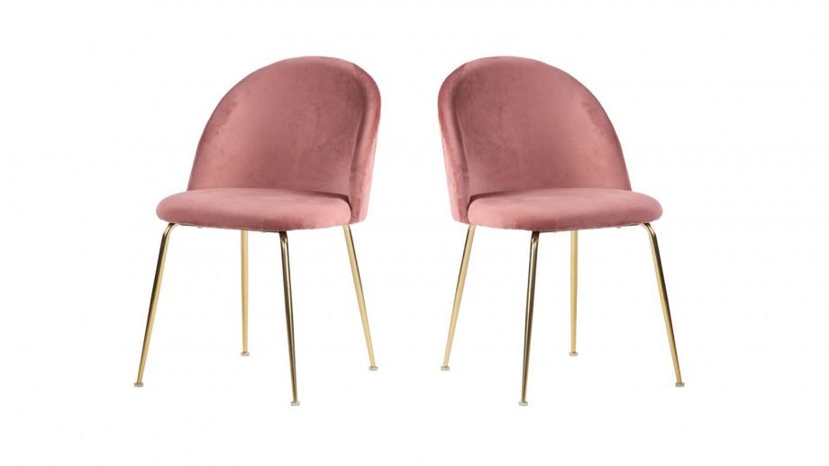 Lot de 2 chaises en velours rose piètement chromé - Collection Geneve - House Nordic