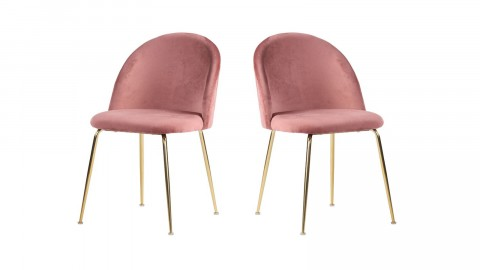 Lot de 2 chaises en velours rose piètement chromé - Collection Geneve - House Nordic