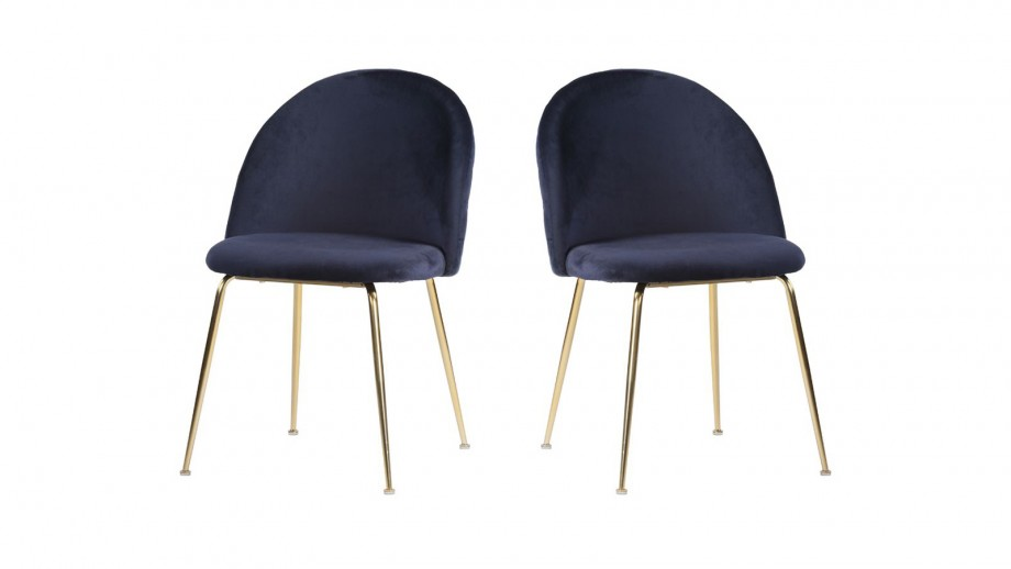 Lot de 2 chaises en velours bleu piètement chromé - Collection Geneve - House Nordic
