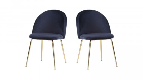 Lot de 2 chaises en velours bleu piètement doré - Collection Geneve - House Nordic