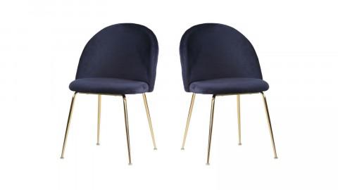 Lot de 2 chaises en velours bleu piètement doré - Collection Geneve - House Nordic
