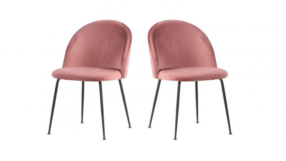 Lot de 2 chaises en velours rose piètement noir - Collection Geneve - House Nordic