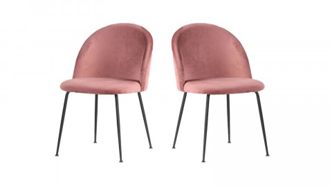 Lot de 2 chaises en velours rose piètement noir - Collection Geneve - House Nordic