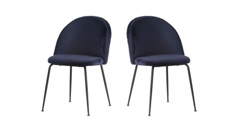Lot de 2 chaises en velours bleu piètement noir - Collection Geneve - House Nordic