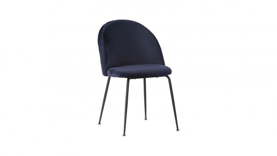 Lot de 2 chaises en velours bleu piètement noir - Collection Geneve - House Nordic