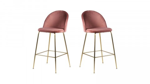 Lot de 2 tabourets de bar en velours rose piètement chromé - Collection Lausanne - House Nordic