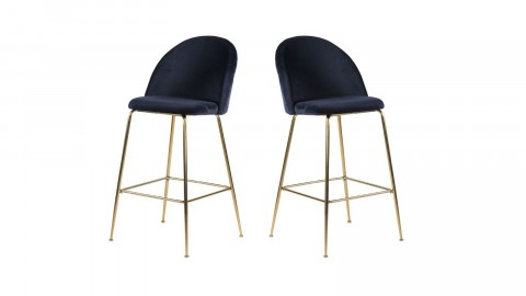 Lot de 2 tabourets de bar en velours bleu piètement chromé - Collection Lausanne - House Nordic