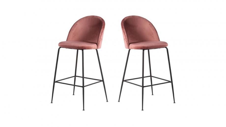 Lot de 2 tabourets de bar en velours rose piètement noir - Collection Lausanne - House Nordic
