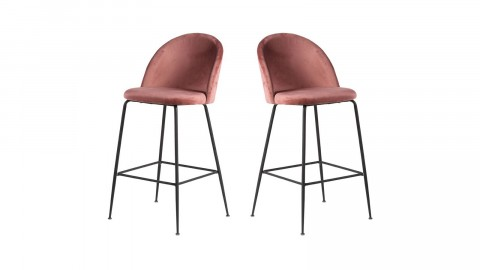 Lot de 2 tabourets de bar en velours rose piètement noir - Collection Lausanne - House Nordic