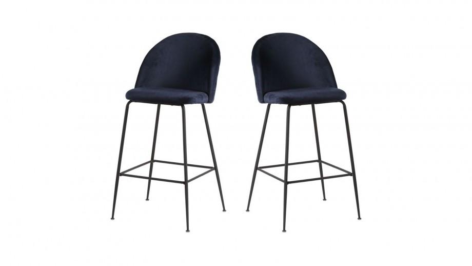 Lot de 2 tabourets de bar en velours bleu piètement noir - Collection Lausanne - House Nordic