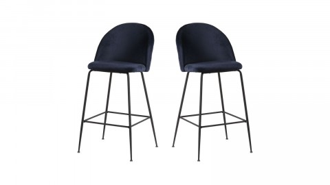 Lot de 2 tabourets de bar en velours bleu piètement noir - Collection Lausanne - House Nordic