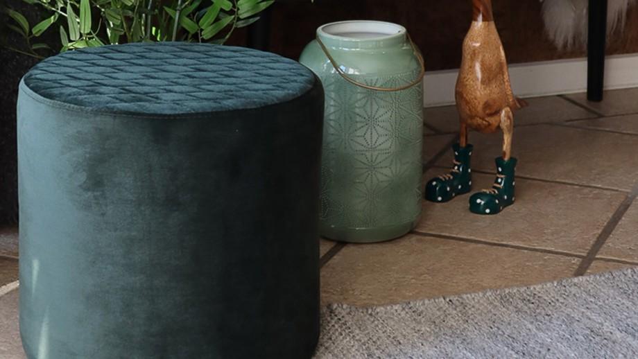 Pouf rond en velours vert foncé - Collection Ejby - House Nordic