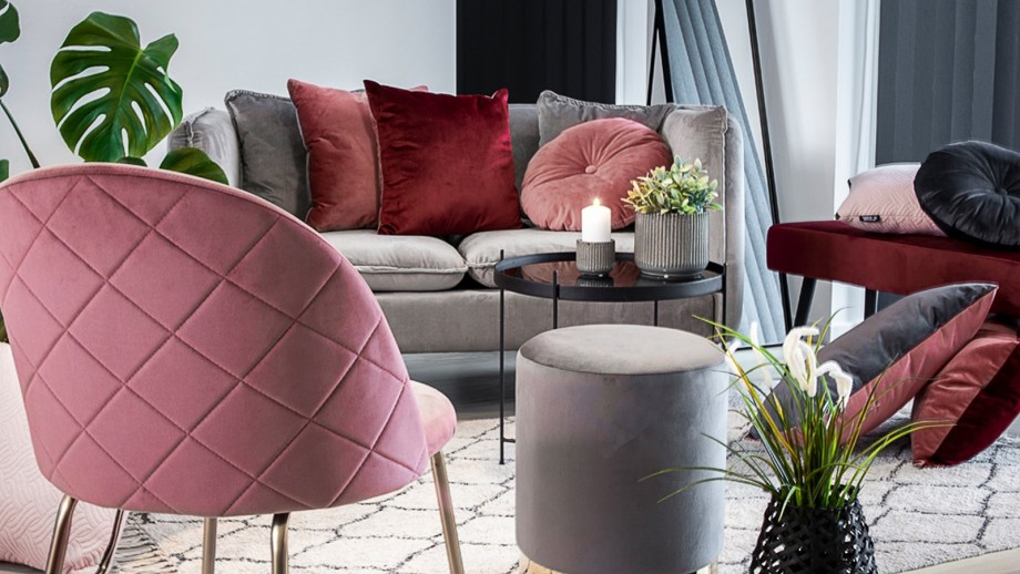 Pouf en velours gris - Collection Gamby - House Nordic