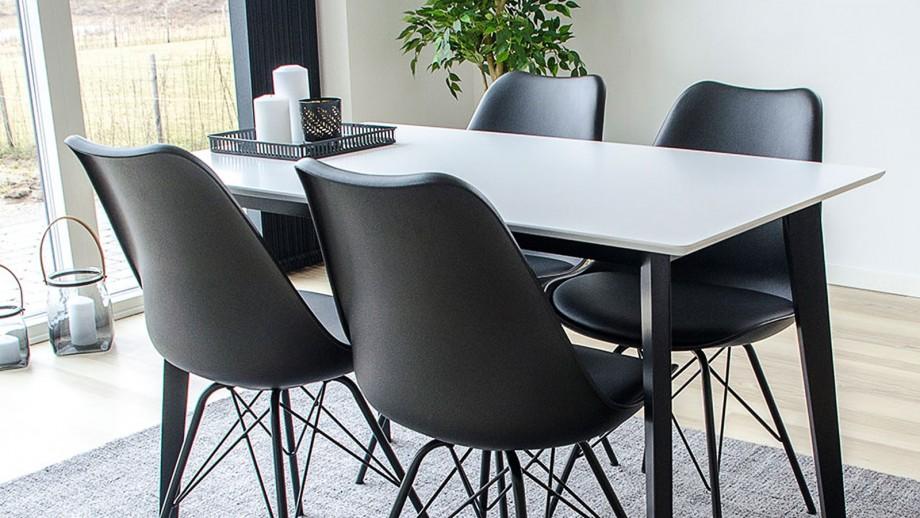 Table à manger 4 personnes noire et blanche - Colleciton Vojens - House Nordic