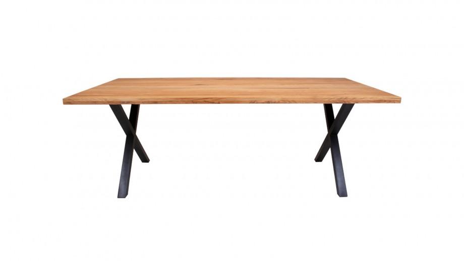Table à manger 6 personnes en chêne piètement croisé en métal noir - Collection Montpellier - House Nordic
