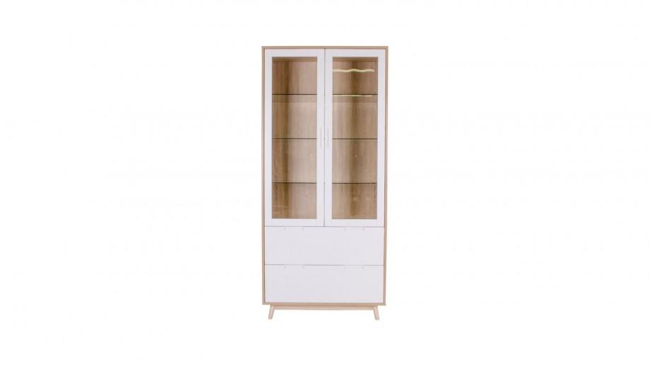 Meuble de rangement vitrine en bois blanc et naturel 2 portes 2 tiroirs - Collection Copenhagen - House Nordic