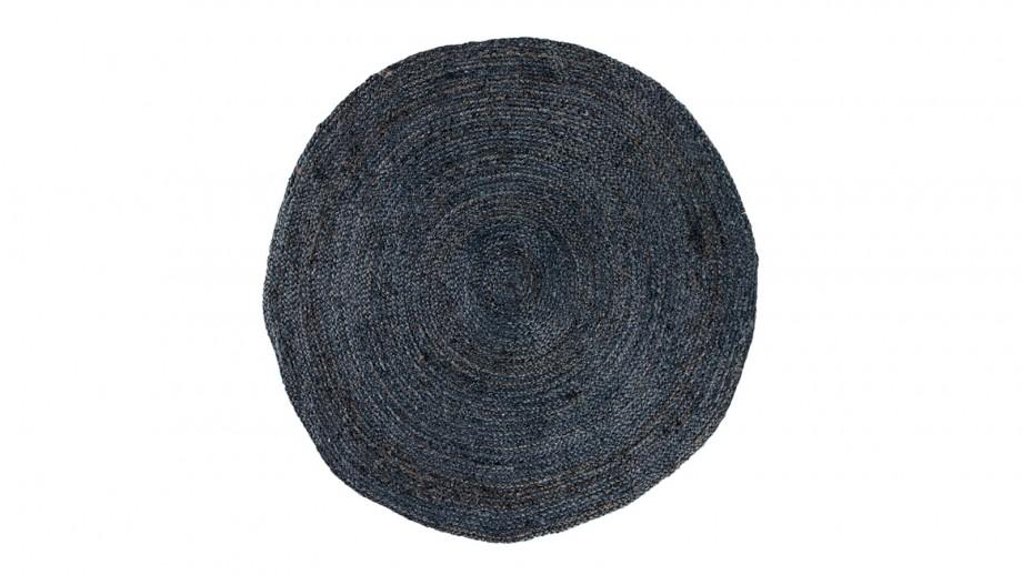 Tapis Ø150 cm en coton et jute gris anthracite - Collection Bombay - House Nordic