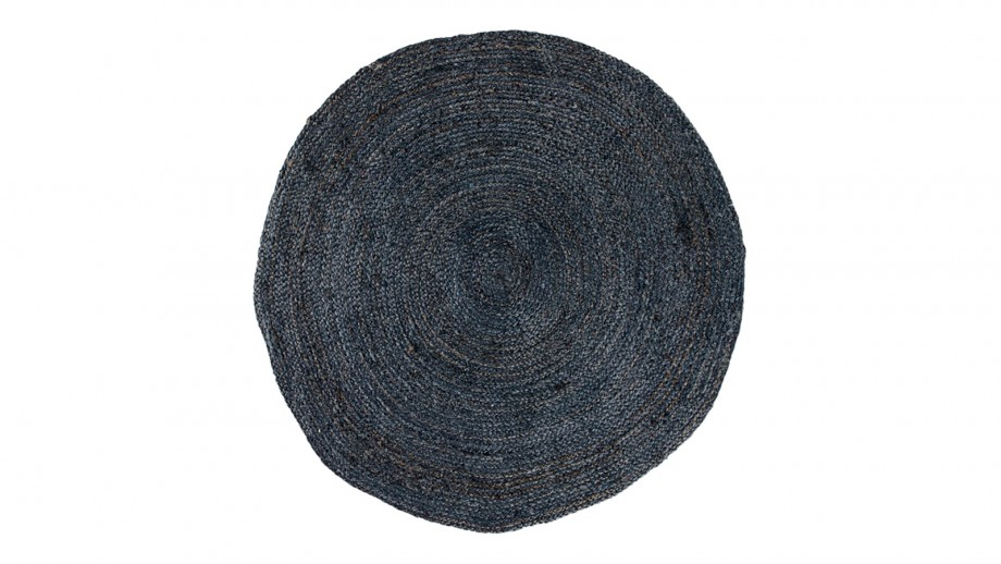Tapis Ø180 cm en coton et jute gris anthracite - Collection Bombay - House Nordic