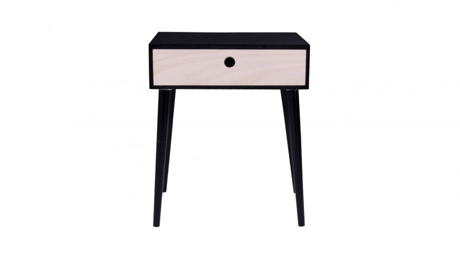 Table de chevet en bois naturel et noir 1 tiroir - Collection Parma - House Nordic