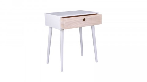 Table de chevet en bois naturel et blanc 1 tiroir - Collection Parma - House Nordic