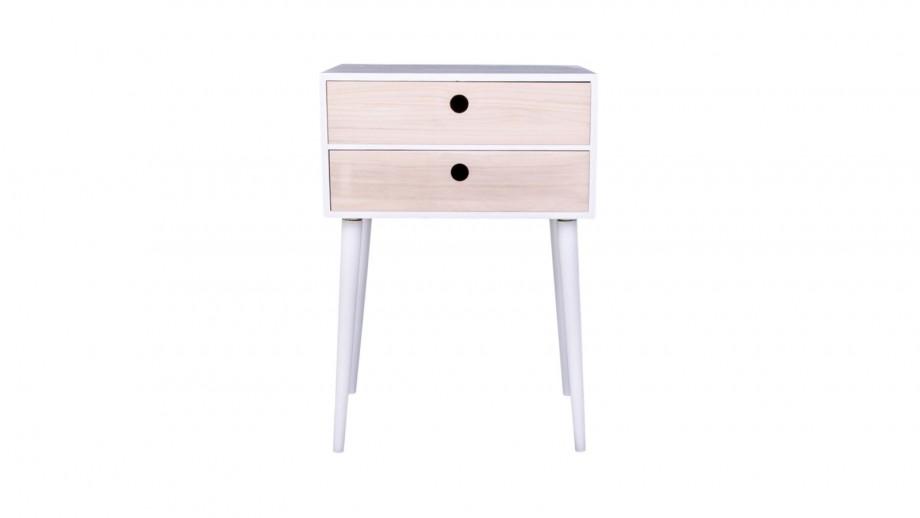 Table de chevet en bois naturel et blanc 2 tiroirs - Collection Rimini - House Nordic
