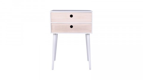 Table de chevet en bois naturel et blanc 2 tiroirs - Collection Rimini - House Nordic