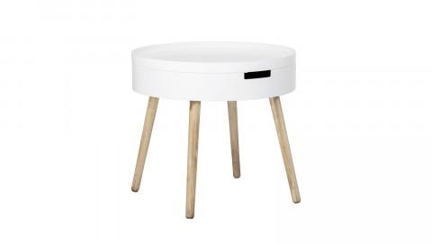 Table d'appoint Ø50cm en bois blanc avec rangement - Collection Tapa - Bloomingville
