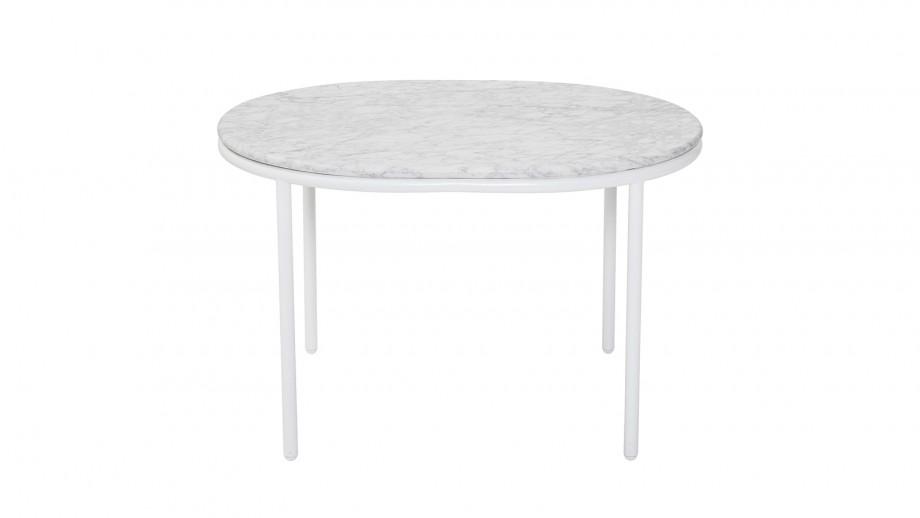 Table basse plateau en marbre blanc piètement métal blanc - Collection Vega - Bloomingville