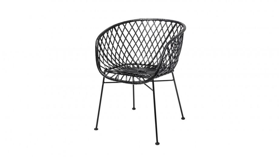 Lot de 2 chaises en rotin noir - Bloomingville
