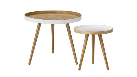 Lot de 2 tables basses en bois naturel et blanc - Collection Cappuccino - Bloomingville