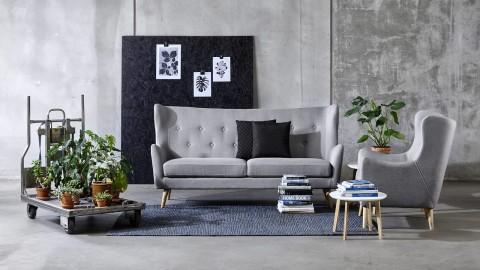 Canapé capitonné en tissu gris clair - Collection Kamma