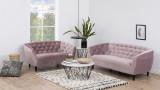 Canapé 2 places capitonné en velours rose - Collection Ria