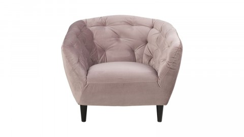 Fauteuil capitonné en velours rose - Collection Ria