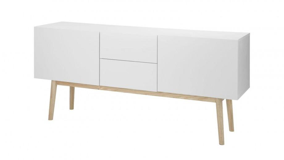 Meuble de rangement bas blanc piètement en chêne naturel 2 portes 2 tiroirs - Collection Bergen