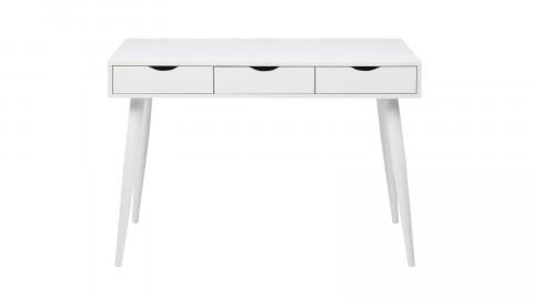 Bureau scandinave 3 tiroirs en bois blanc piètement blanc - Collection Neptun