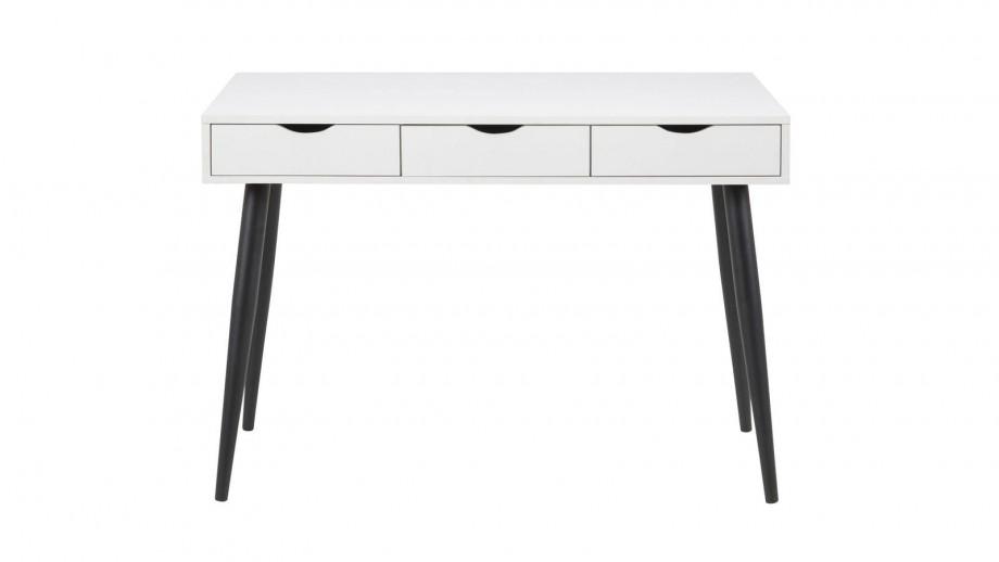 Bureau scandinave 3 tiroirs en bois blanc piètement noir - Collection Neptun