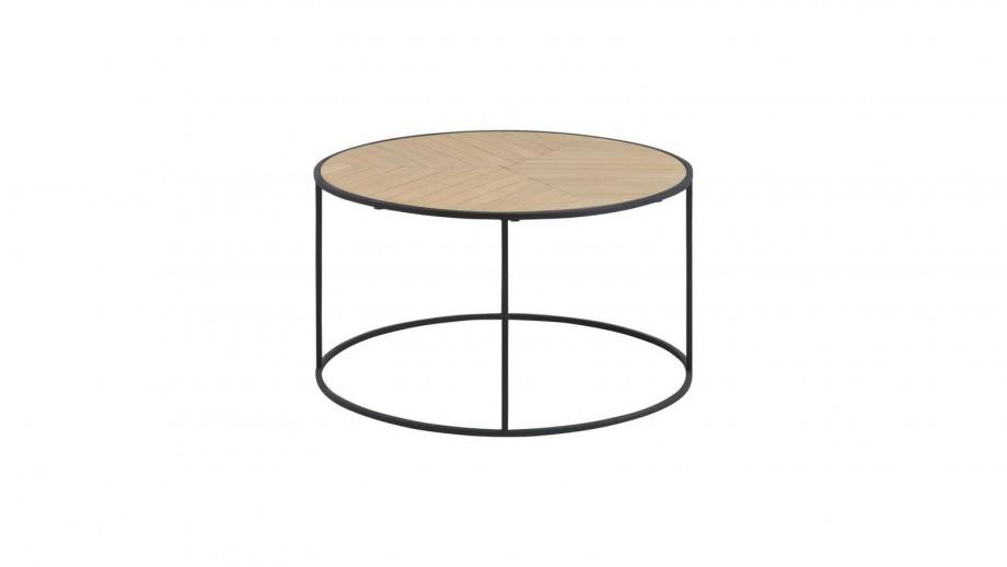 Table basse ronde en bois piètement en métal noir - Collection Ortiz