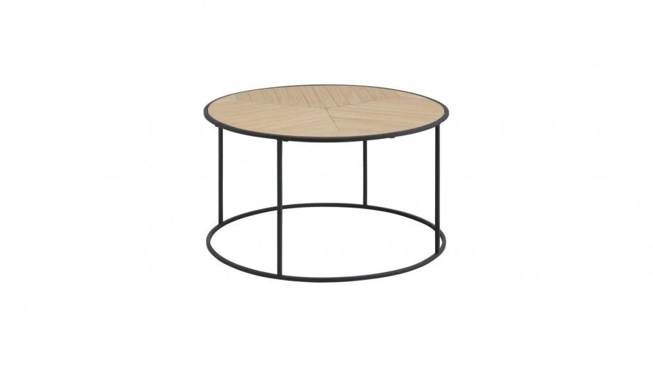 Table Basse Ronde En Bois Piètement En Métal Noir Collection Ortiz