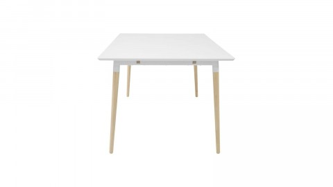 Table à manger 4 personnes en melamine blanc piètement en chêne naturel - Collection Olivia