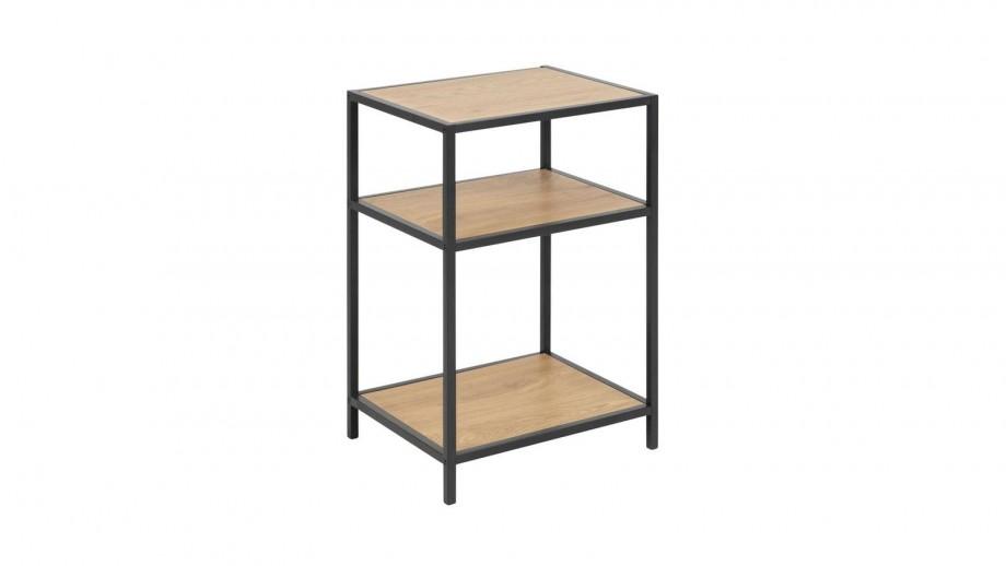 Table de chevet en bois piètement en métal - Collection Seaford